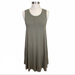 Cupio Taupe Green Sleeveless Boho Swing Dress